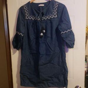 Denim like embroidered dress